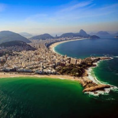 Aerial View Of Famous Copacabana Beach And Ipanema Beach In Rio