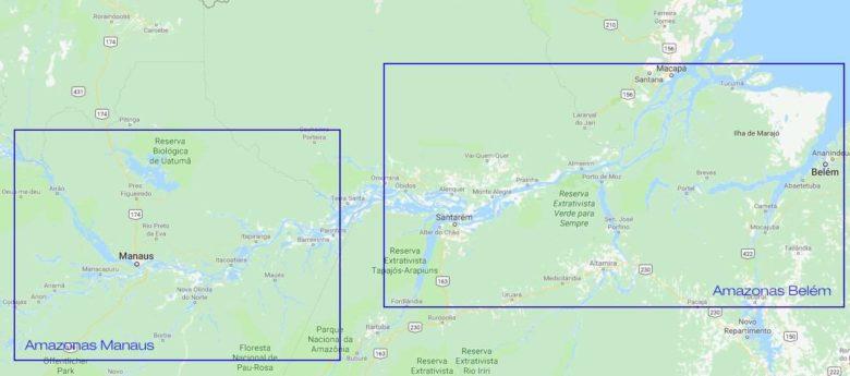 Amazonas Reisen Karte Manaus und Belem GloboTur